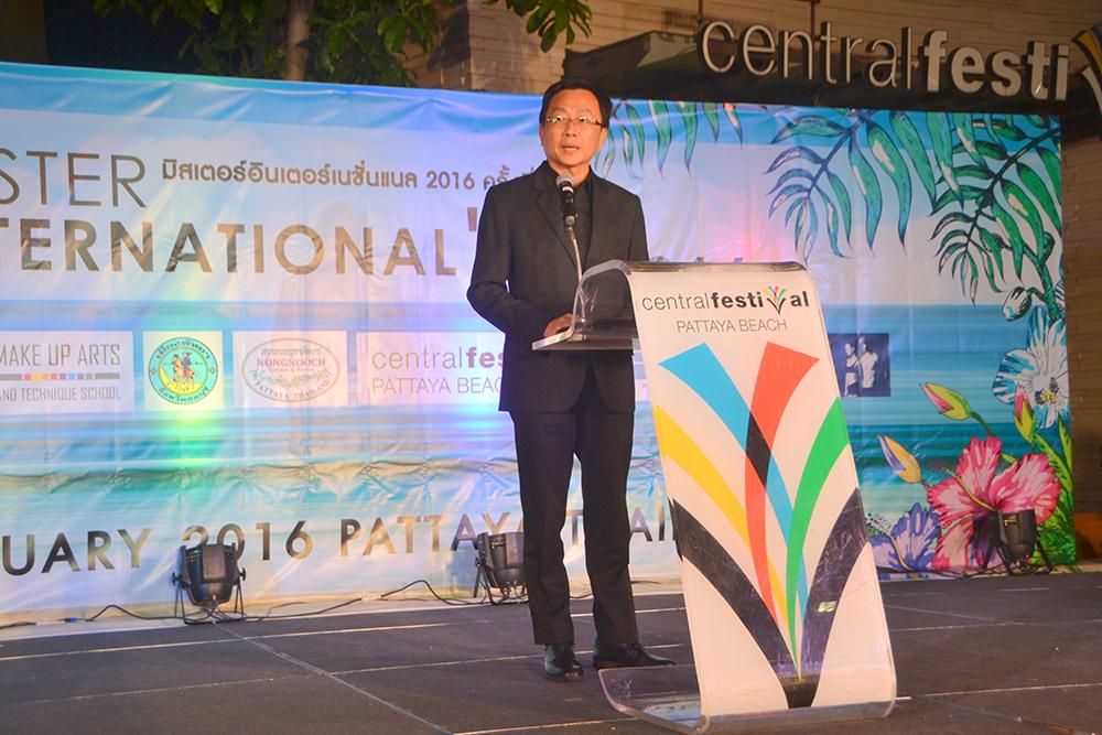 PBTA President Sinchai Wattanasartsathorn kicks off Mister International 2016 semi-finals in Pattaya.