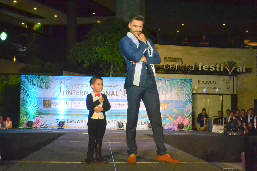 Czech's Mister International contestant poses with a dapper little guy.