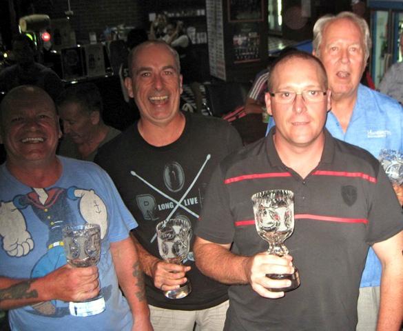 Colins Bar 1team: Stan Stuart, Neil Smith, Nigel Harrison and Tip Briney.