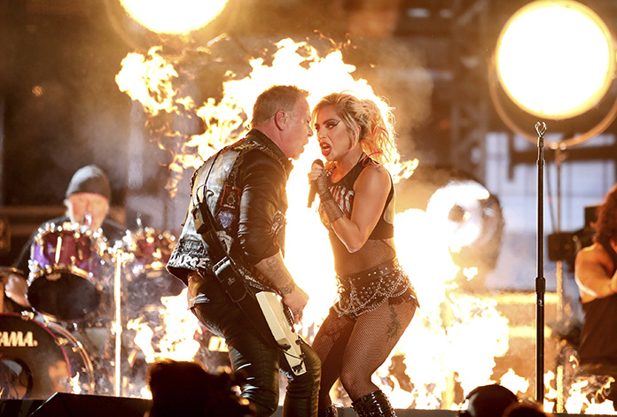 "Lady Gaga (right) and James Hetfield of ""Metallica"" perform ""Moth Into Flame"" at the 59th annual Grammy Awards on Sunday, Feb. 12, in Los Angeles. (Photo by Matt Sayles/Invision/AP)"
