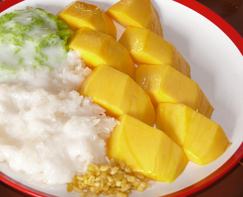 Popular mango and sticky rice dessert.