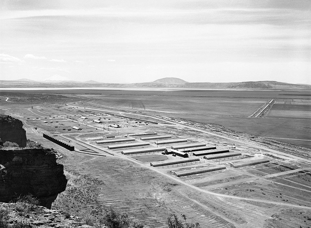 This May 23, 1943 file photo shows a Japanese relocation camp in Tule Lake, Calif. Tule Lake is at left, under Mount Shasta. (AP Photo)