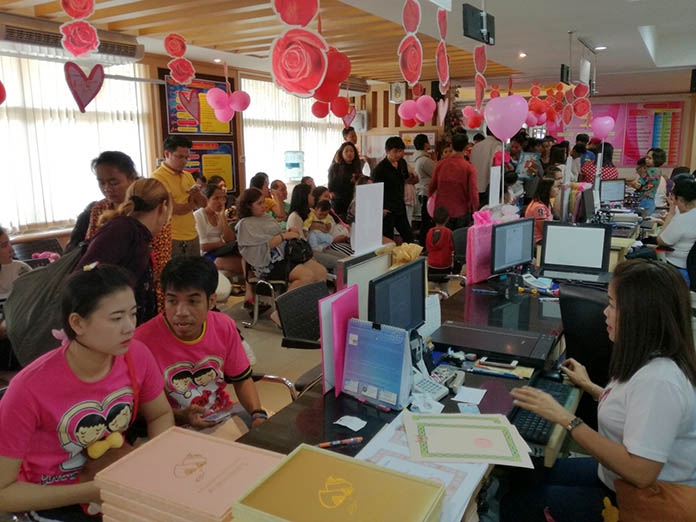Banglamung District office was busy from the 8 a.m. opening until the 6 p.m. closing with couples registering their marriages.