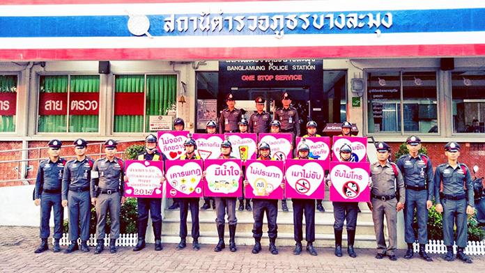 Banglamung Police are all heart at their checkpoints on Valentine's Day.