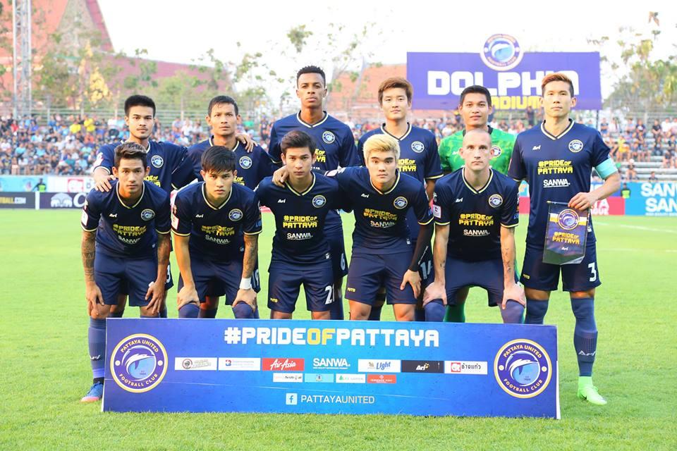 Pattaya United players line up prior to their Thai Premier League game against Chonburi FC at the Nongprue Stadium in Pattaya, Sunday, Feb. 19. (Photo courtesy Pattaya United FC)
