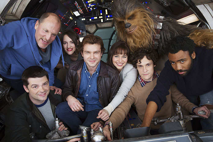 """Cast members and co-directors of the Han Solo """"Star Wars"""" spin-off pose for a photo at London's Pinewood Studios on Monday, Feb. 20. (Jonathan Olley/Lucasfilm via AP)"""
