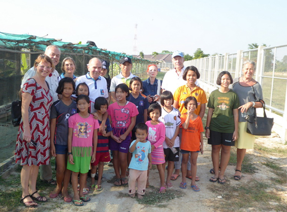 The visitors visit the CPDC's new little farm.