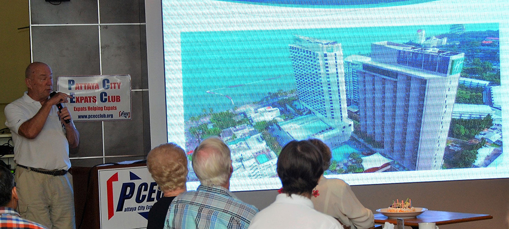 Chairman Roy Albiston show PCEC members and guest their new home beginning on April 2. Among the locations being considered, the Holiday Inn was the front runner in being able to provide all the needs and conveniences for the Club's weekly Sunday meeting.