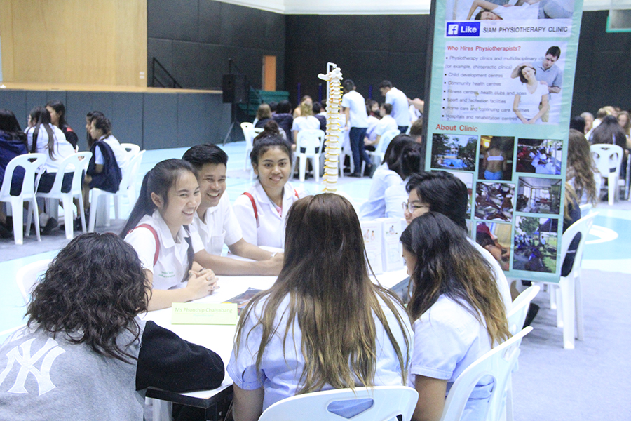 Physiotherapy professionals brought along props to help them convey career insights.