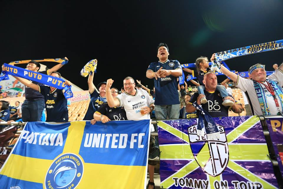 United fans applaud the team after the enthralling 2-2 draw in Korat. (Photo courtesy Pattaya United)