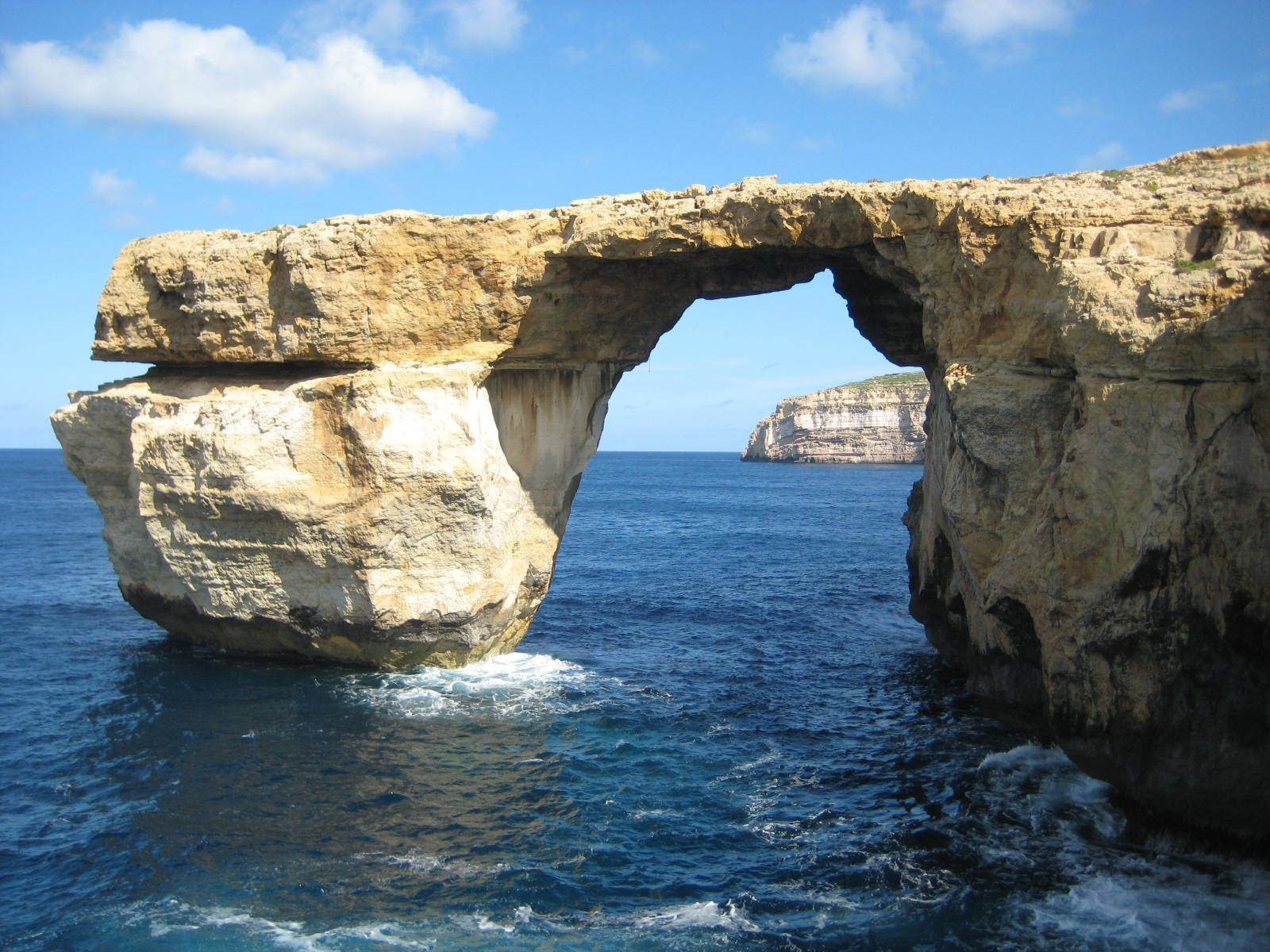 This is April 2014 image shows the landmark Azure Window located on the Maltese island of Gozo. (Caroline Hodgson via AP)
