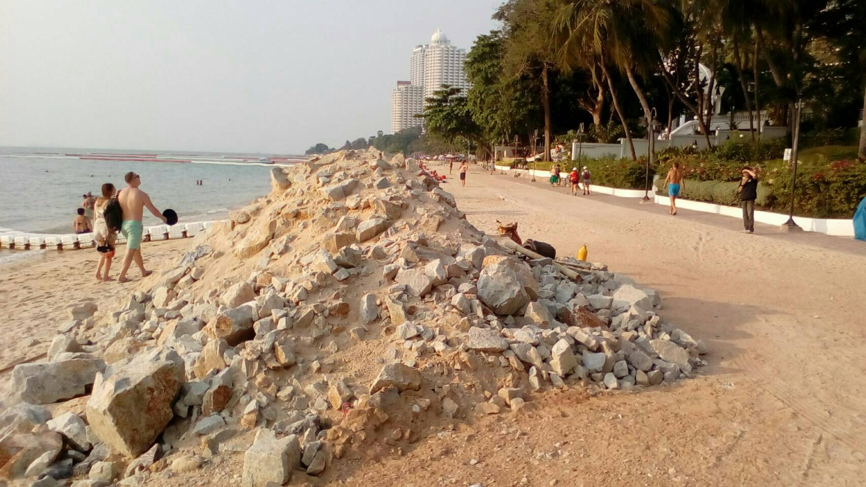 A large pile of construction rubbish has been left on Wong Amat Beach.