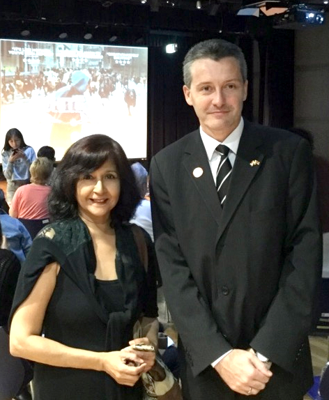 Pattaya Mail Media's Sue Kukarja (left) poses with Hungarian Ambassador HE Dr. Peter Jakab after the screening of the film in Bangkok, Saturday, March 11.