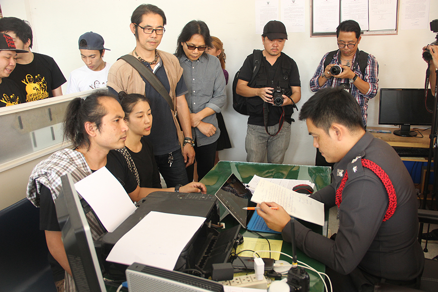 """Panutat Apichanachong, or Kru Ad, Om Rattanang, Patinya """"Nong"""" Trangtrakul, and members of Lanna Artists Club filed a copyright infringement complaint with the police after a YouTube user uploaded their songs without their permission."""