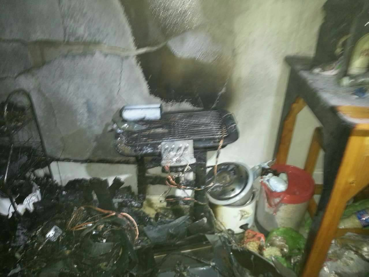 Fire damaged a central Pattaya apartment house after a tenant apparently forgot to turn off the grill.