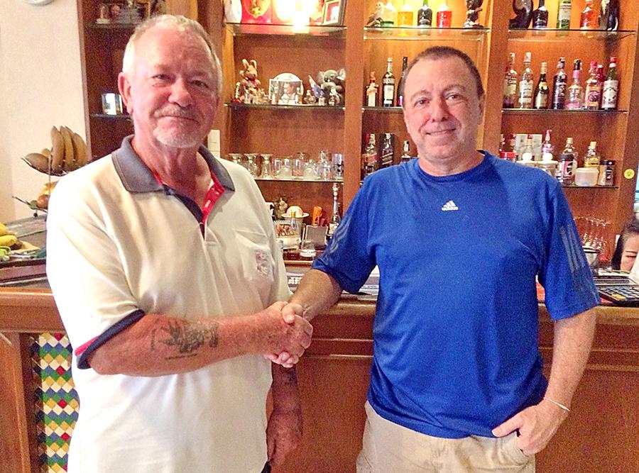 Barry Elphick (left) with Tom Harrington.
