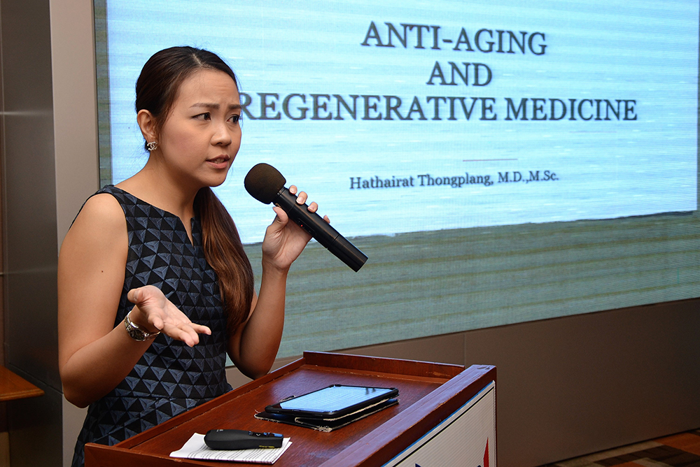 Dr. Hathairat Thongplang from the Wellness Center at Phyathai Hospital Sriracha introduces her topic on Anti-Aging and Regenerative Medicine.