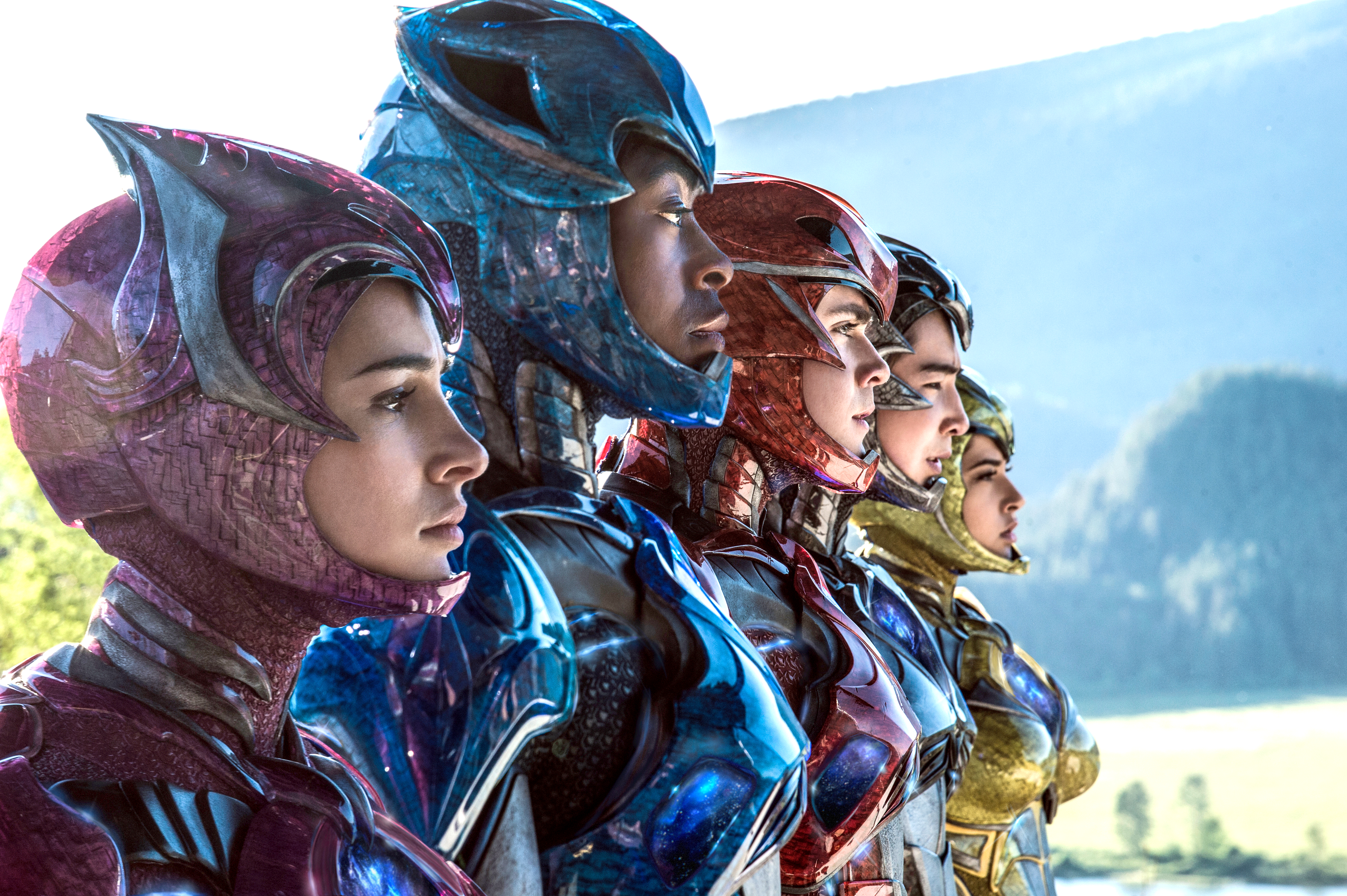 """From left: Naomi Scott, RJ Cyler, Dacre Montgomery, Ludi Lin and Becky G are shown in a scene from """"Power Rangers."""" (Kimberly French/Lionsgate via AP)"""