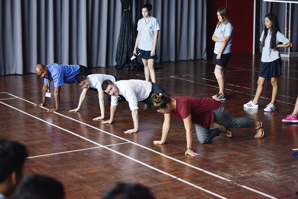 House leaders were challenged to do some Russian-style press ups!