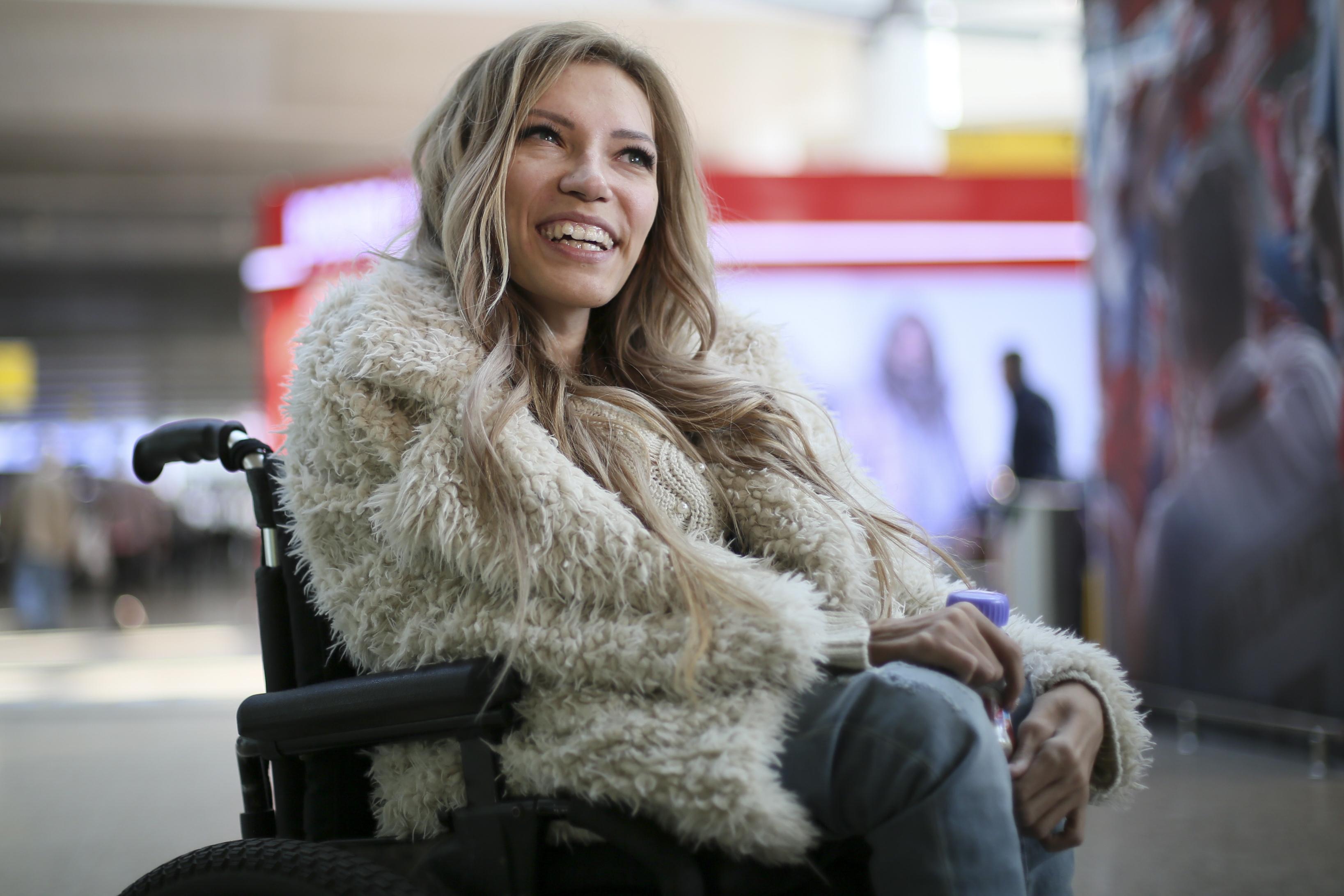 Russia's Eurovision song contest entrant Yulia Samoylova. (AP Photo/Maria Antipina)