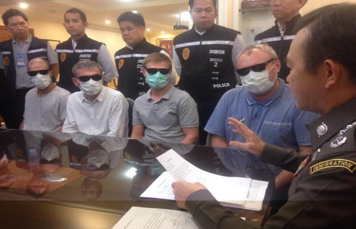 """Four Russian gangsters who set up shop in Pattaya have been arrested, along with ten other Eastern Europeans engaged in what immigration officials called """"Mafia"""" behavior."""