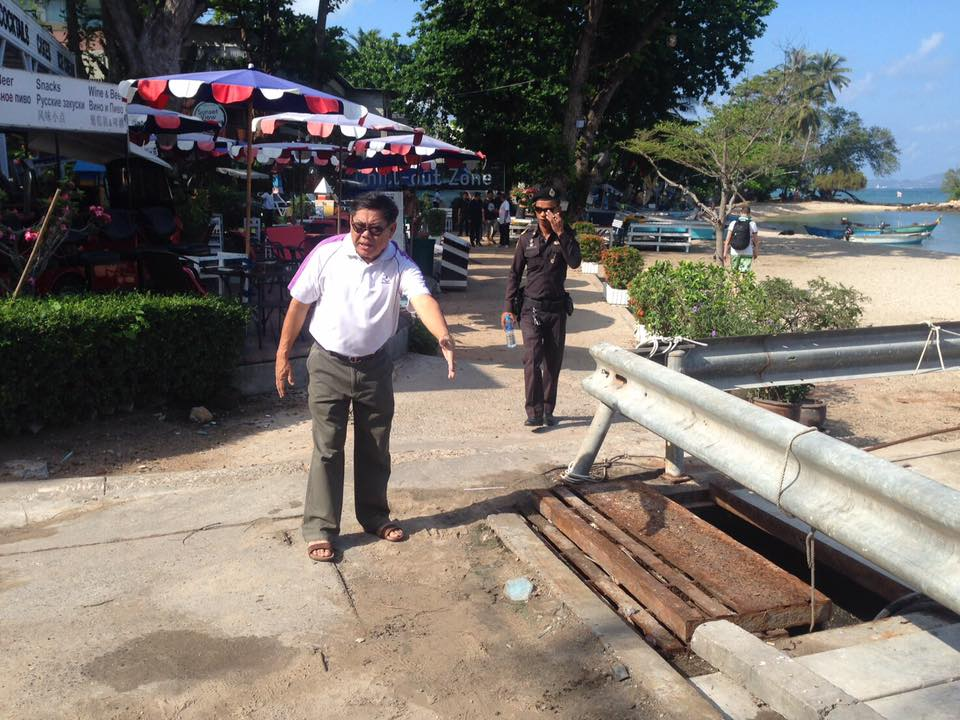 City spokesman Pinit Maneerat explains how a squirrel shorted out the wastewater pump at Wong Amat, causing untreated sewage to foul the beach and sea.