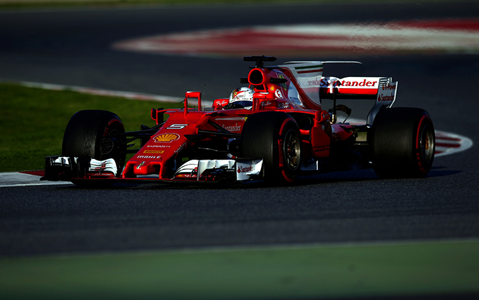 Ferrari driver Sebastian Vettel of Germany steers his car during a Formula One pre-season testing session at the Catalunya racetrack in Montmelo, outside Barcelona, Spain, Thursday, March 9. (AP Photo/Manu Fernandez)