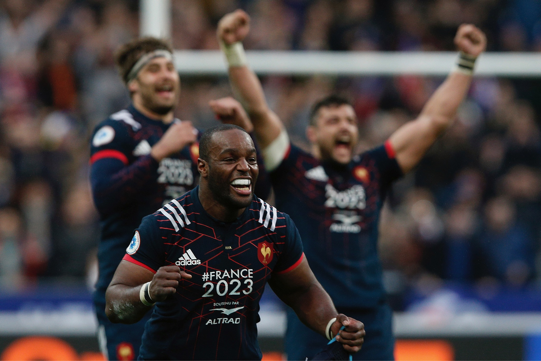 French players celebrate their 20-18 victory over Wales in their Six Nations rugby union international at the Stade de France stadium, in Saint Denis, north of Paris, Saturday, March 18. (AP Photo/Thibault Camus)