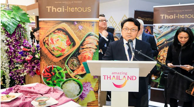 Mr. Tanes Petsuwan, TAT Deputy Governor for International Marketing (Europe, Africa, Middle East and the Americas) presents the concept and details of the Thai-licious campaign to the press and tourism delegates at ITB Berlin 2017