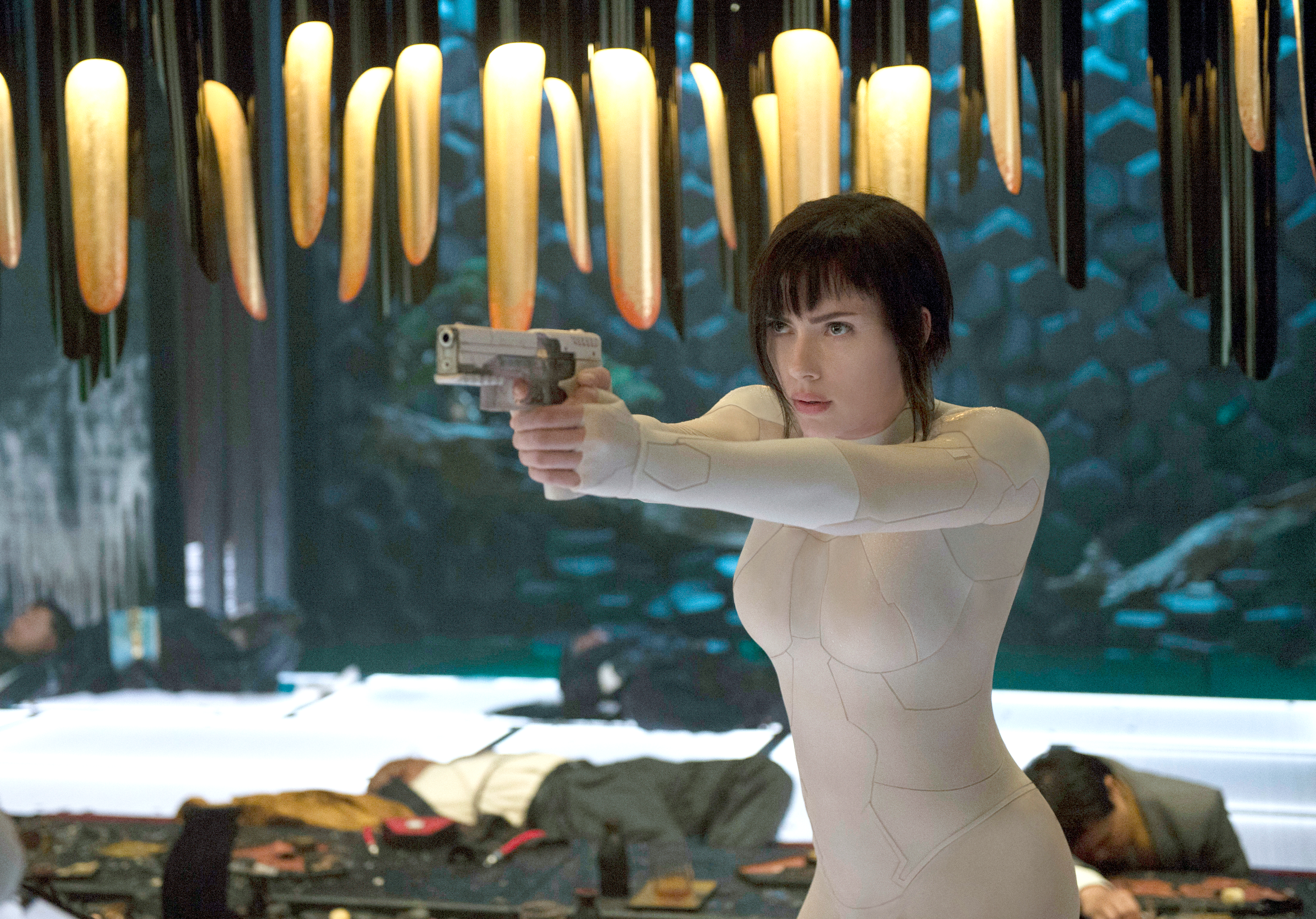 """Scarlett Johansson appears in a scene from """"Ghost in the Shell."""" (Jasin Boland/Paramount Pictures and DreamWorks Pictures via AP)"""