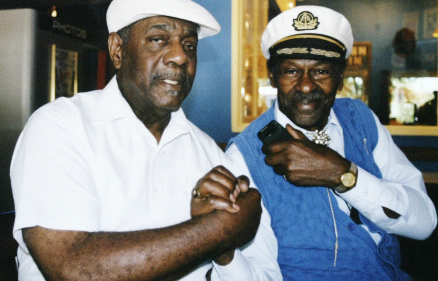 Johnnie Johnson (left) and Chuck Berry pose in this undated AP photo.