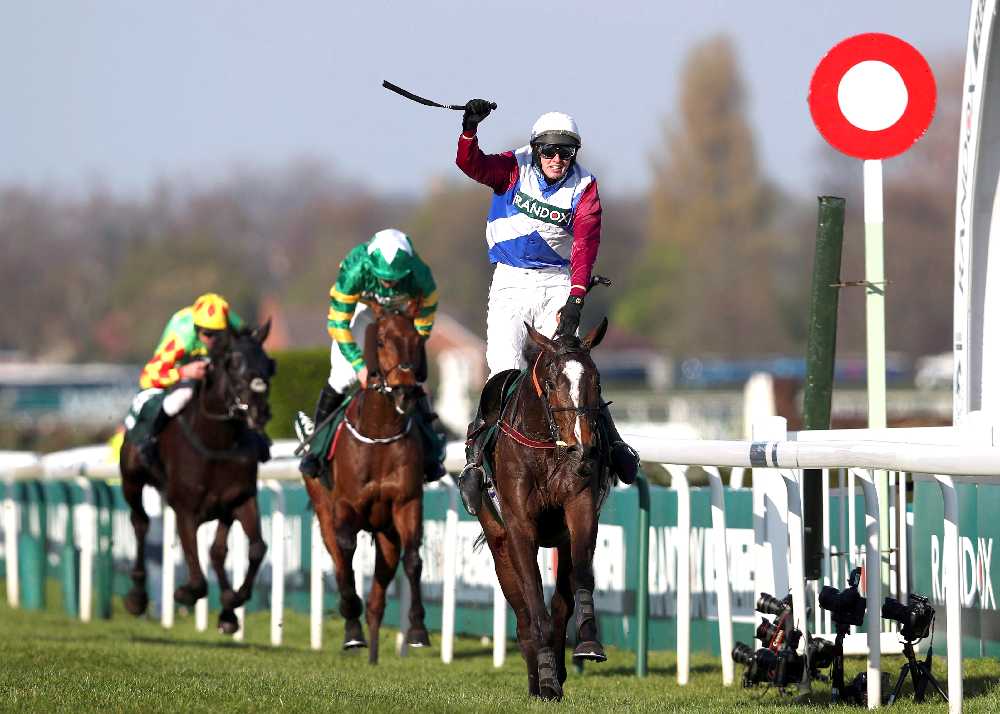 One For Arthur ridden by Derek Fox crosses the line to win the Grand National horse race on at Aintree Racecourse in Liverpool, Saturday April 8. (David Davies/PA via AP)