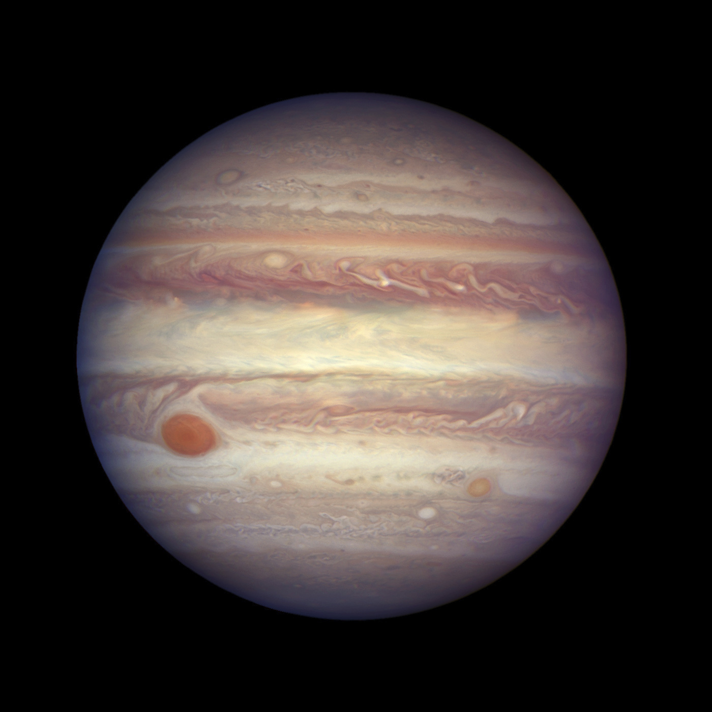This image made available by NASA shows the planet Jupiter when it was at a distance of about 668 million kilometers (415 million miles) from Earth. Jupiter was extra close and extra bright last week, and the Hubble Space Telescope took advantage of the opportunity to make this photo of the gas giant. (NASA, ESA, and A. Simon (GSFC) via AP)