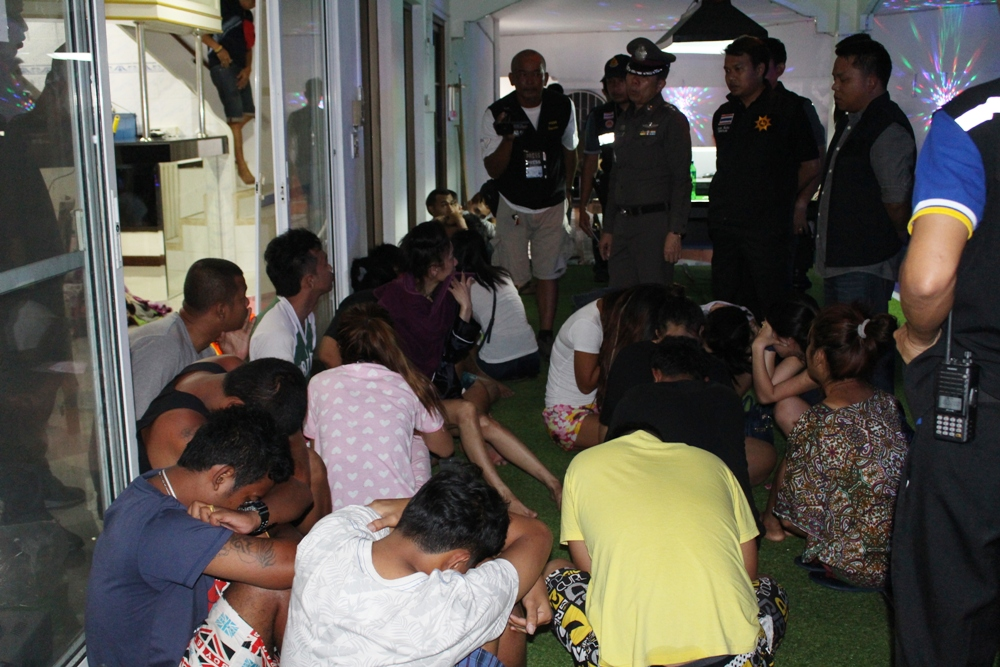 Twenty-eight people were arrested when police raided an alleged drug party at a Pattaya house.