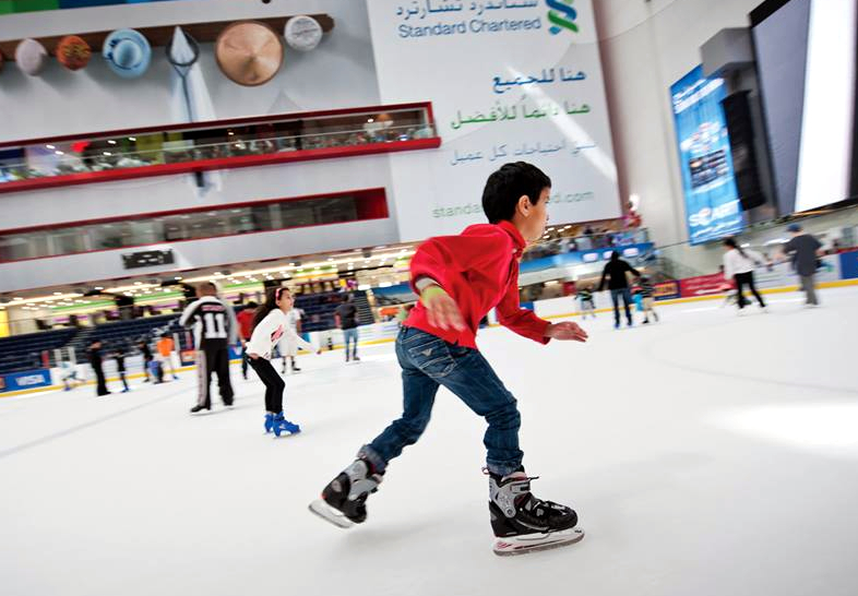 Skating fun for all at the Harbor Mall ice rink.