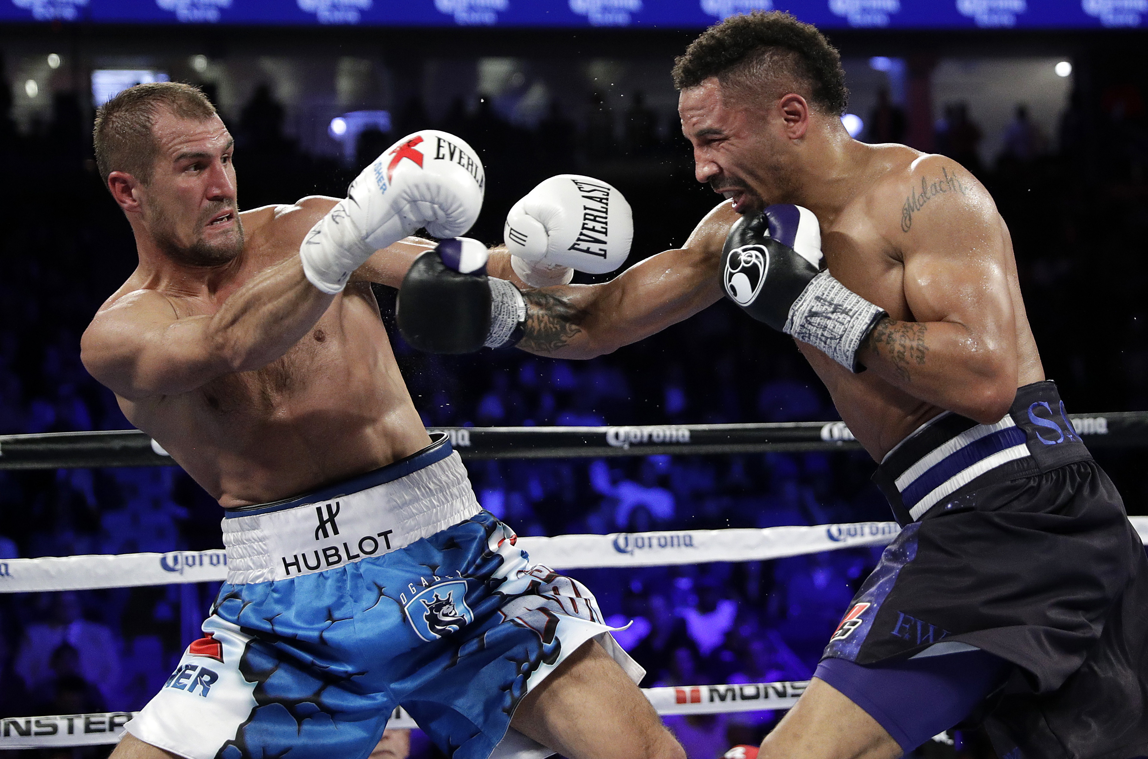 Sergey Kovalev, left, and Andre Ward are shown in action during their first fight at the T-Mobile Arena in Las Vegas, Nevada, November 19, 2016. (AP Photo/file)