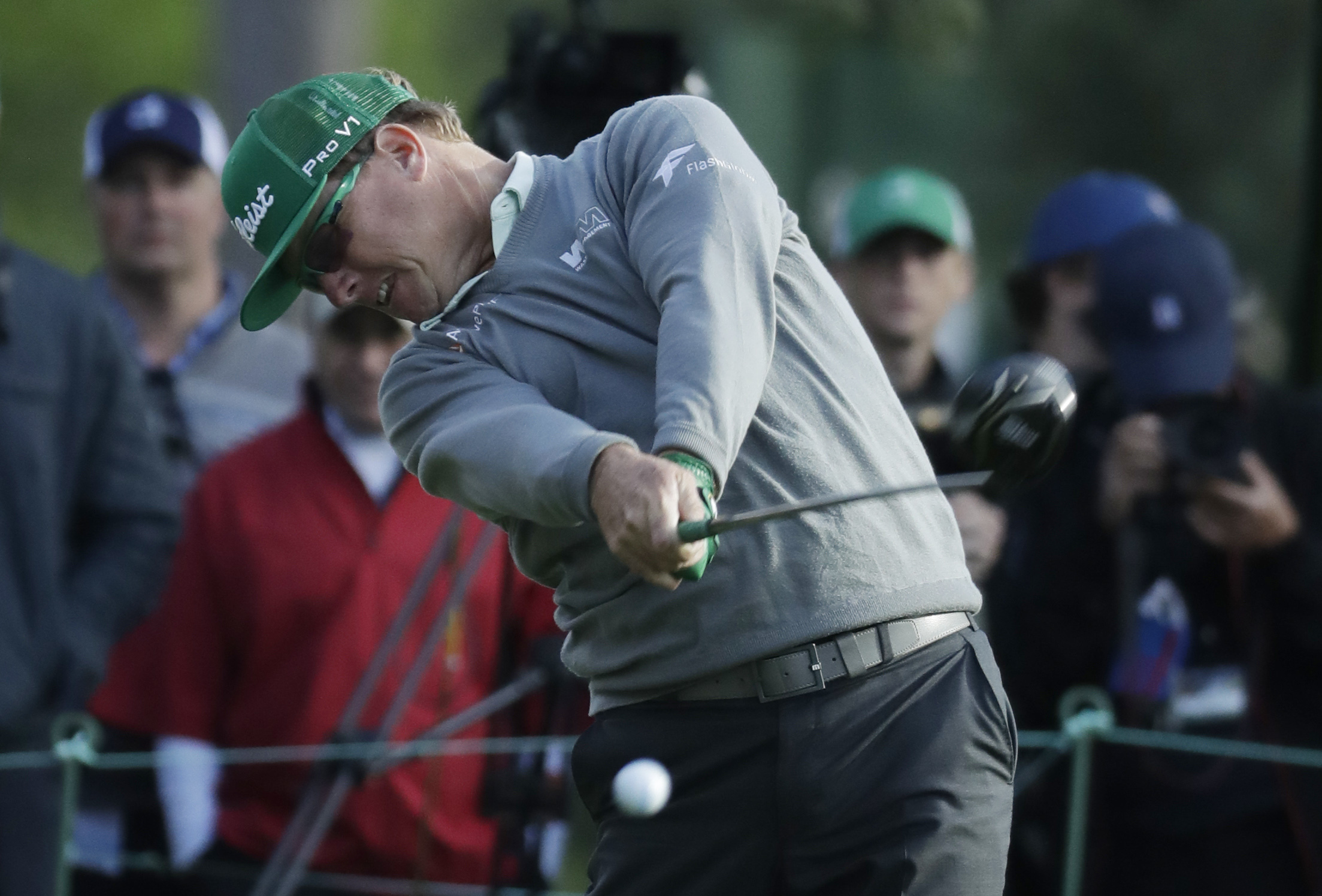 Charley Hoffman hits a drive on the 18th hole during the first round for the Masters golf tournament Thursday, April 6, in Augusta, Ga. (AP Photo/Chris Carlson)