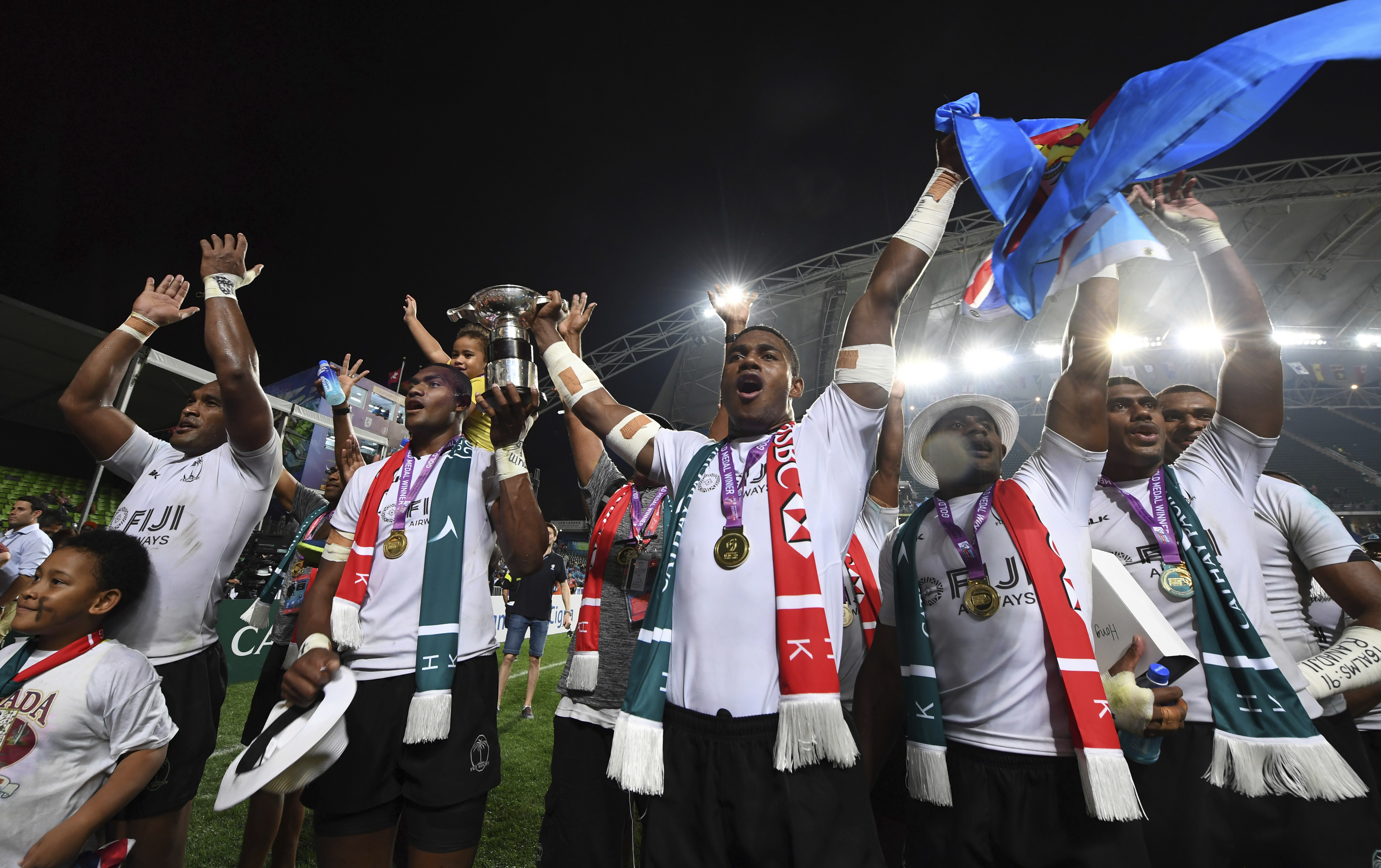 The Fiji rugby team celebrates after winning the final against South Africa at the Hong Kong Sevens rugby tournament in Hong Kong, Sunday, April 9. (AP Photo)