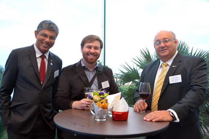 (L to R) Regil Ratnam from the South African Chamber of Commerce, Brent Gladney, Allied Pickfords, and Warren Boyes, Macallan Insurance Broker.