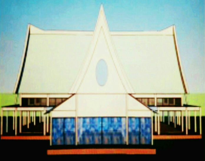 An artist's rendering of the new Dharma Practice Buddhism Building.