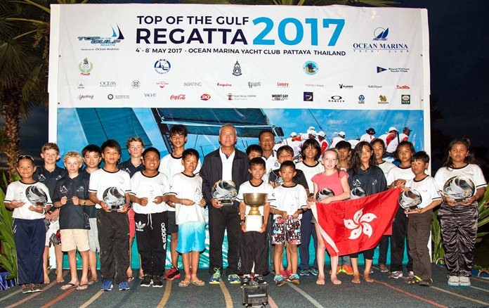 2017 Thailand Optimist National Championship winners and medalists pose for a group photo at Ocean Marina Yacht Club in Pattaya, Sunday, May 7. (Photo by Guy Nowell)