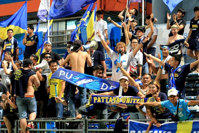 Dolphin fans celebrate a second league victory in 4 days. (Photo/Pattaya United FC)