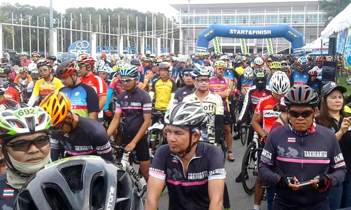 """Cyclists gather at the start line for the """"Pattaya Cycling the Tourist City 3"""" event at the Eastern National Sports Center on Chaiyaphruek 2 Road, Saturday, April 29."""