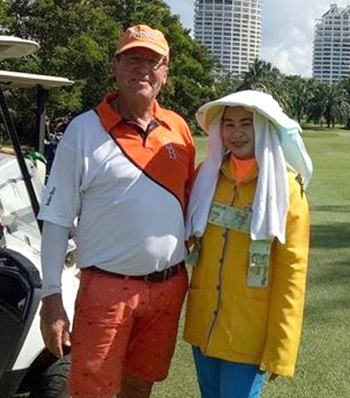 Ross Schiffke and his caddy.