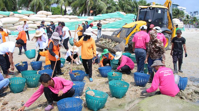 Pattaya picked up after the huge crowds of Labor Day weekend with a May 3 beach cleanup.