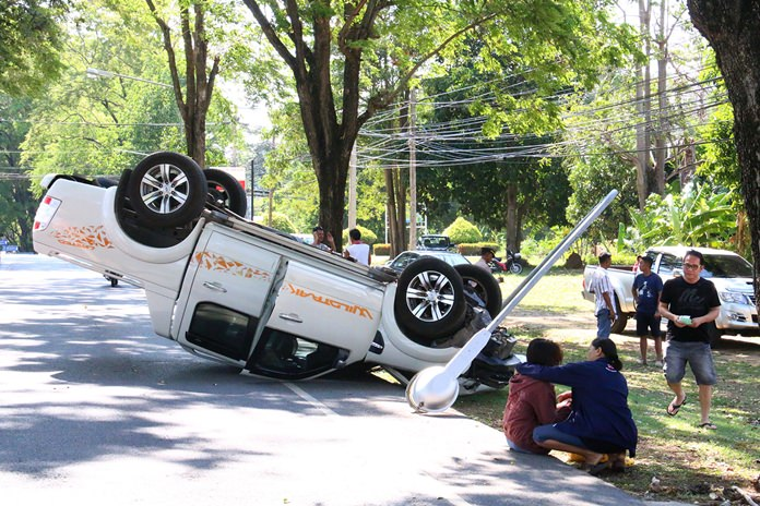 Two women who believed they saw a ghost crashed their truck into a utility pole in Sattahip.