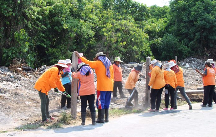 City workers clean up the rubbish near Wonderland 2.