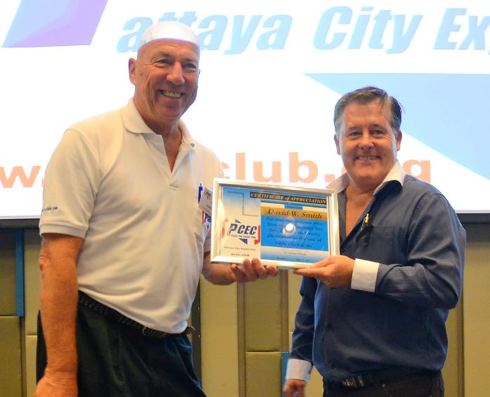 MC Roy Albiston presents David Smith with the PCEC's Certificate of Appreciation for his informative presentation on bio-technology and some of its current uses.