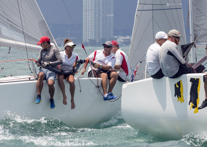 Racing up close and personal at the 2017 Top of the Gulf Regatta.