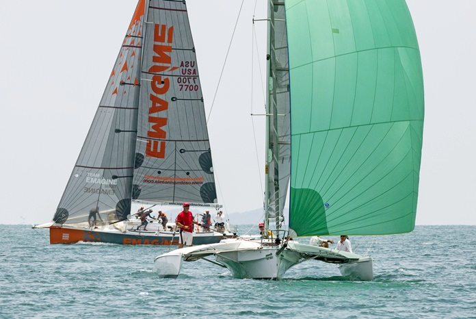A multihull runs ahead of IRC 1 winner Emagine.